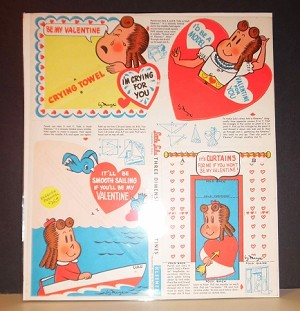 Vintage Little Lulu Valentines Day cards (set of 4) by Marge for Kleenex