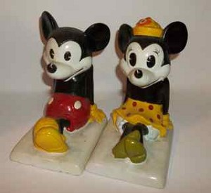 Vintage Disney Mickey and Minnie bookends
