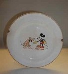 Vintage Patriot China Disney Mickey Mouse and Pluto Plate
