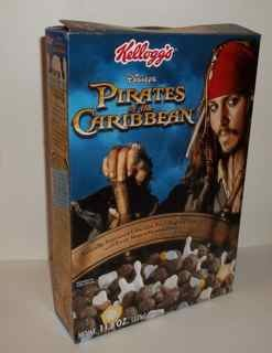 Pirates of the Caribbean Kellogg's cereal box featuring Johnny Depp